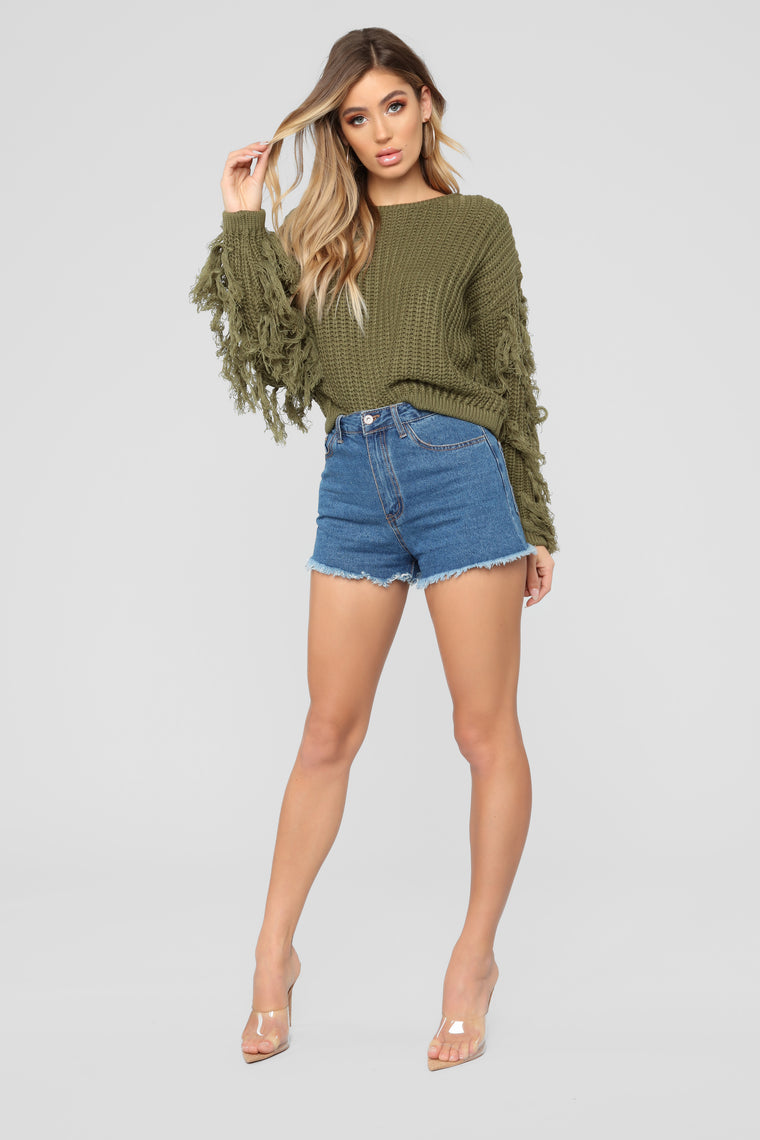 Denise Fringe Sweater - Olive