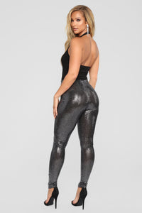 When You're Missing Me Sequin Leggings - Silver