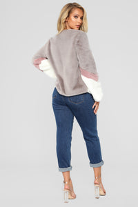 Colorblock Fur Romance Jacket - Grey/combo