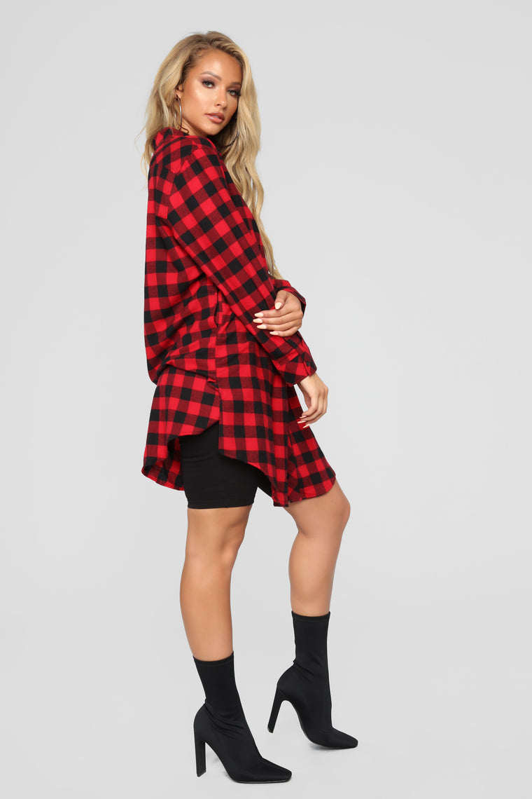 Lumber Jane Plaid Shirt Dress - Red/Black