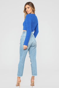 Logan Fuzzy Sweater - Blue