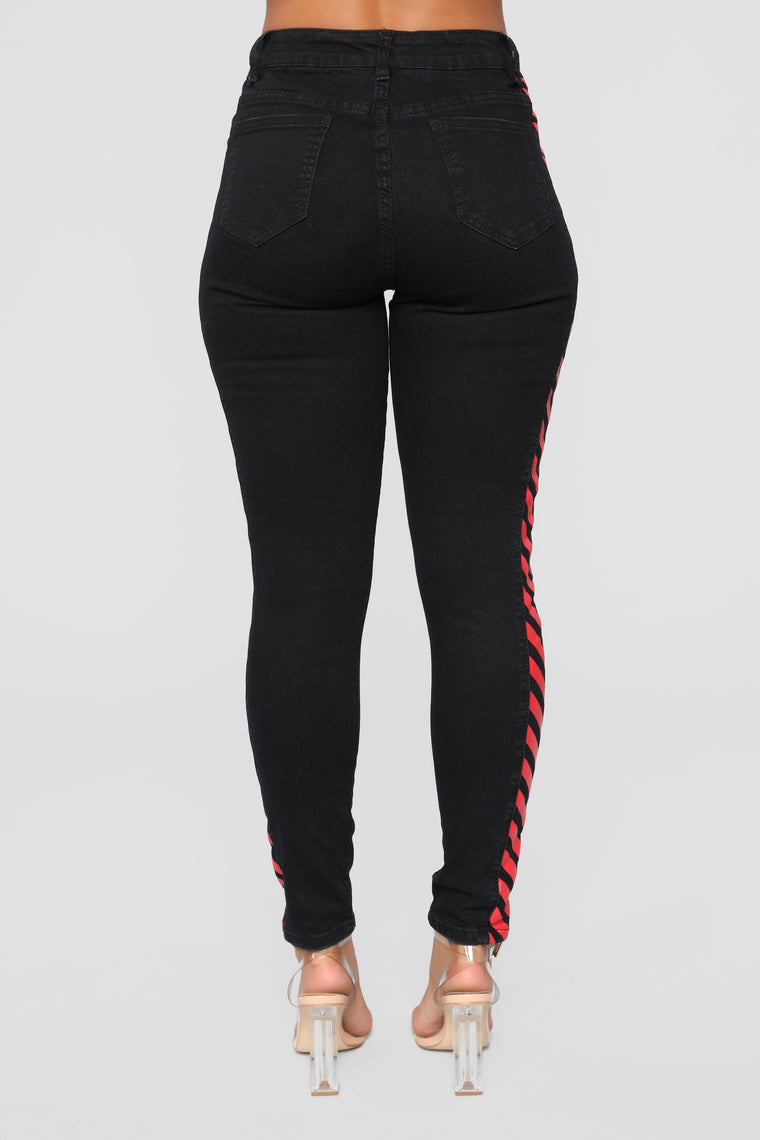 Walk On The Wild Side High Rise Jeans - Black/Red