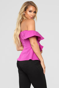 Romantic Peplum Top - Magenta