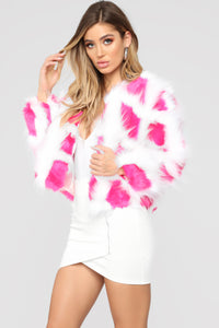 Be Careful Faux Fur Jacket - White/Pink