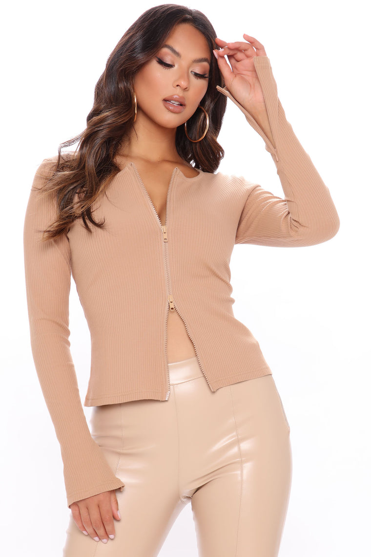 Deep In My Dreams Ribbed Top - Taupe
