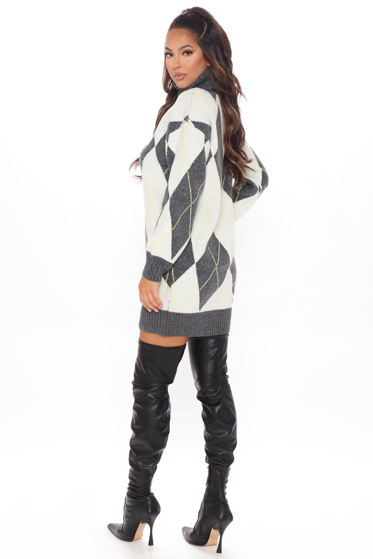 Ready For Winter Sweater Dress - Charcoal/combo
