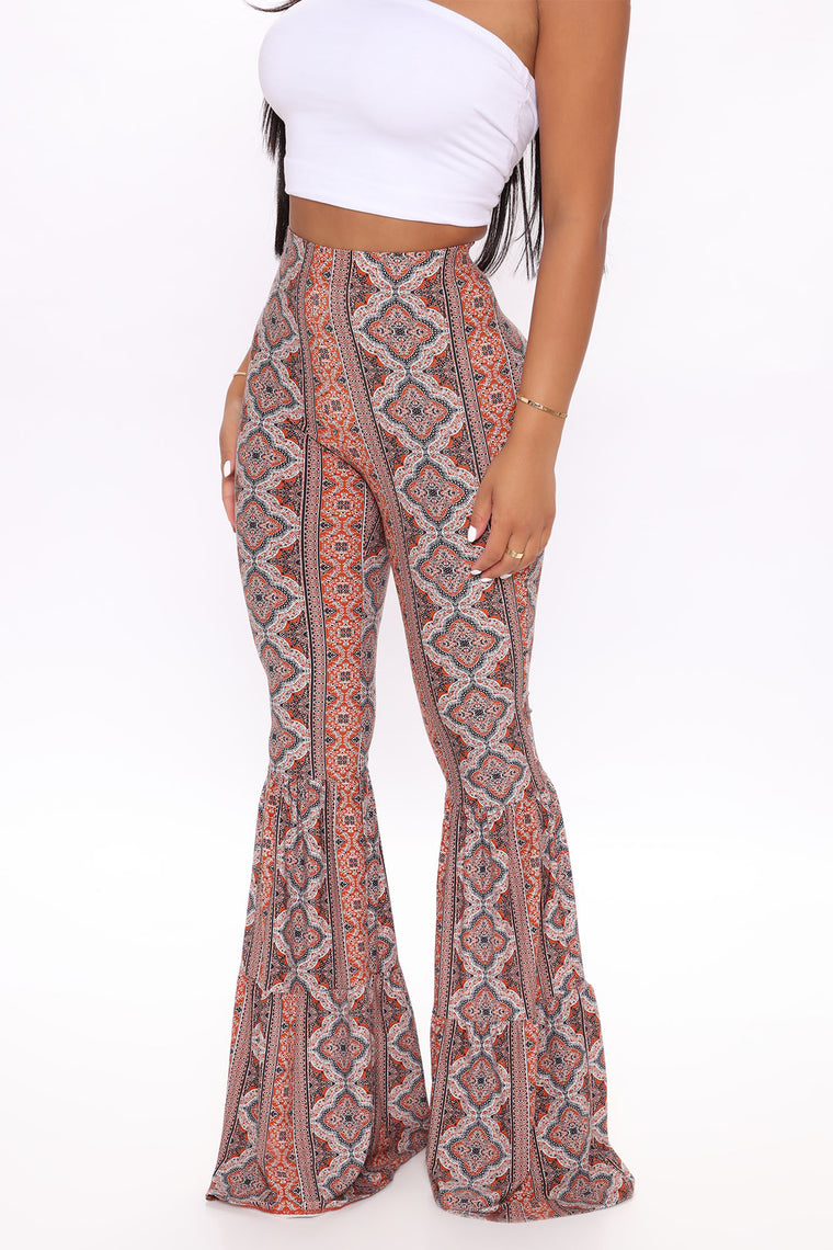 Juniper Tiered Flare Pant - Rust/combo