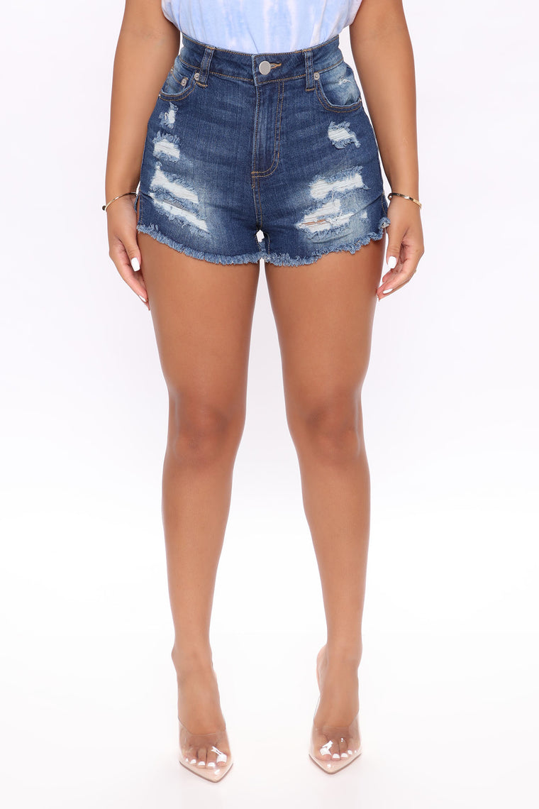 Get Back To Basic Denim Shorts - Dark Wash