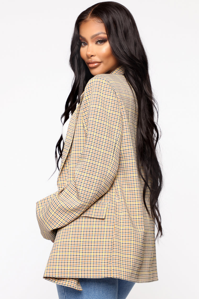 The Boss Babe Blazer - Taupe/Yellow