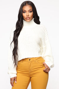 When I Get Home Turtle Neck Sweater - White