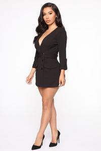Wrap Party Blazer Romper - Black Angle 3