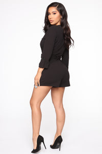 Wrap Party Blazer Romper - Black Angle 4