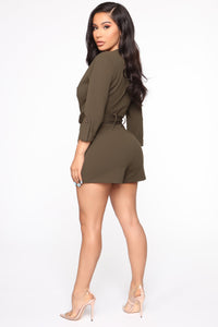 Wrap Party Blazer Romper - Olive