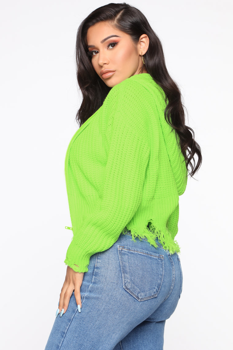 It's About Time Hooded Sweater - Neon Green