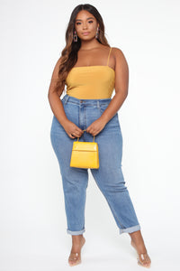 Don't Be So Square Bodysuit - Mustard Angle 8