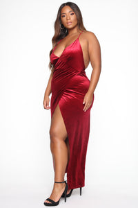 Angelique Velvet Maxi Dress - Dark Burgundy Angle 7