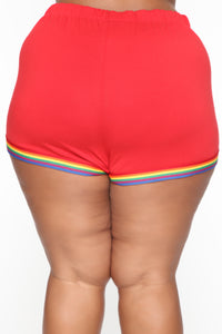 Want A Peek Dolphin Shorts - Red