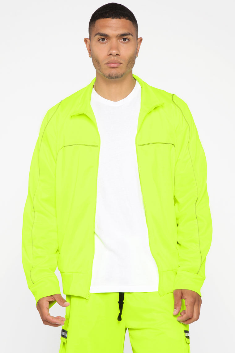 Isaiah Track Jacket   Neon Yellow by Fashion Nova