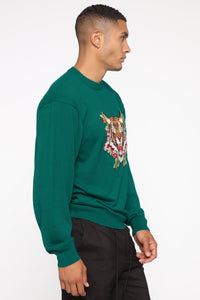 Tiger Patch Pullover Sweater - Blue