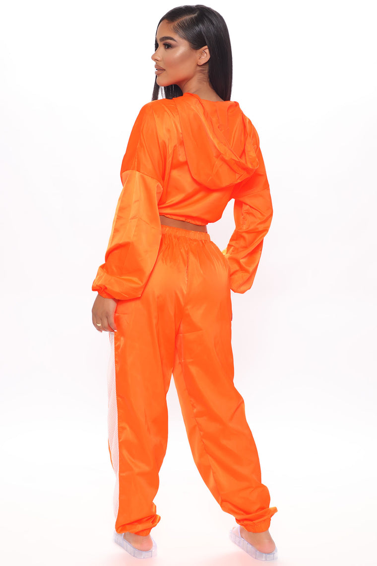 Break Through Windbreaker Joggers - Neon Orange