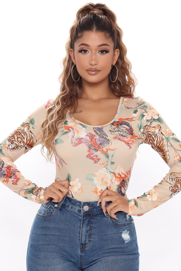 Dare To Wonder Printed Bodysuit - Taupe/combo