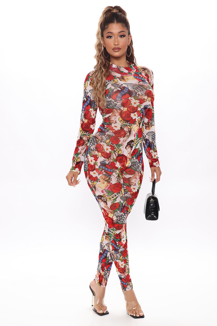 Forever Rose Tattoo Jumpsuit - Red/combo