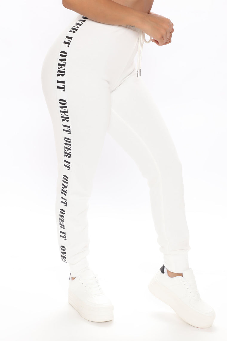Just So Over It Jogger Set - White/Black