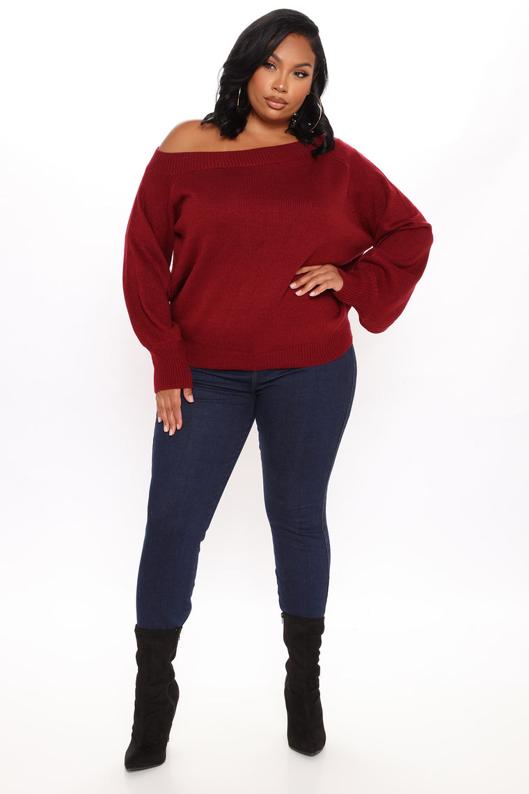 Sway My Way One Shoulder Pullover - Burgundy
