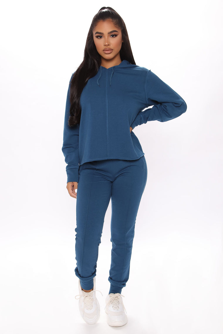 Can't Stop Me French Terry Crop Hoodie - Blue