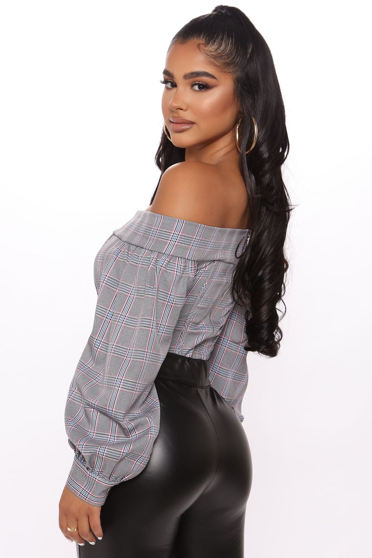 Book Smart Corset Plaid Top - Pink/combo