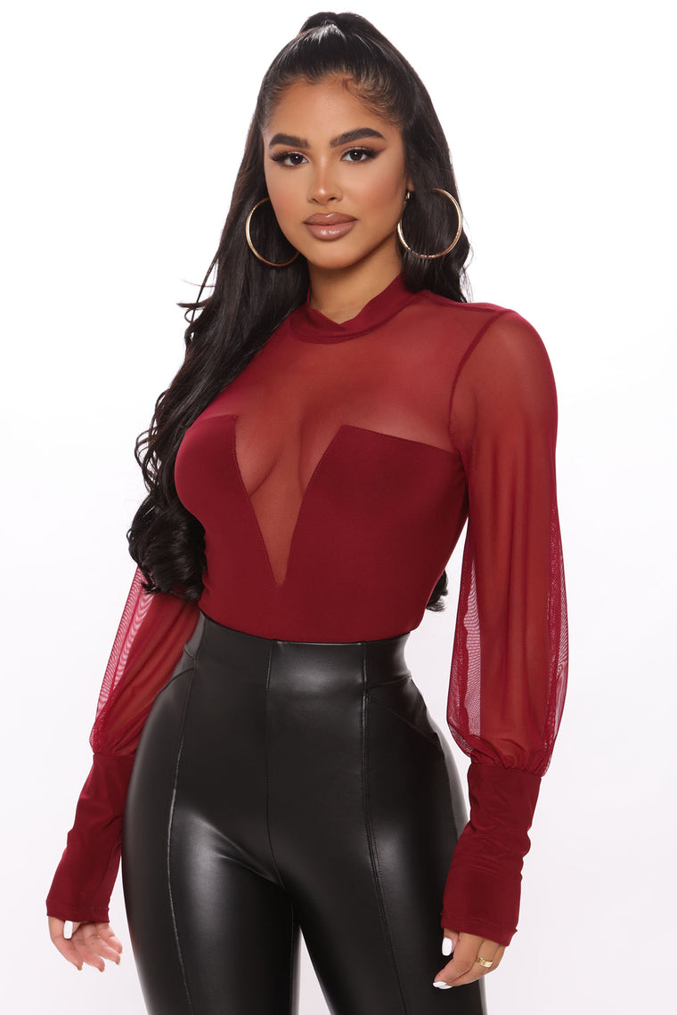 She's About It Mesh Bodysuit - Burgundy