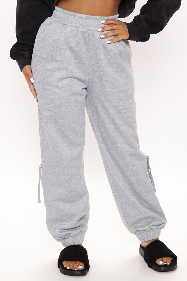 Let's Get Loud Ruched Jogger Pant - Heather Grey