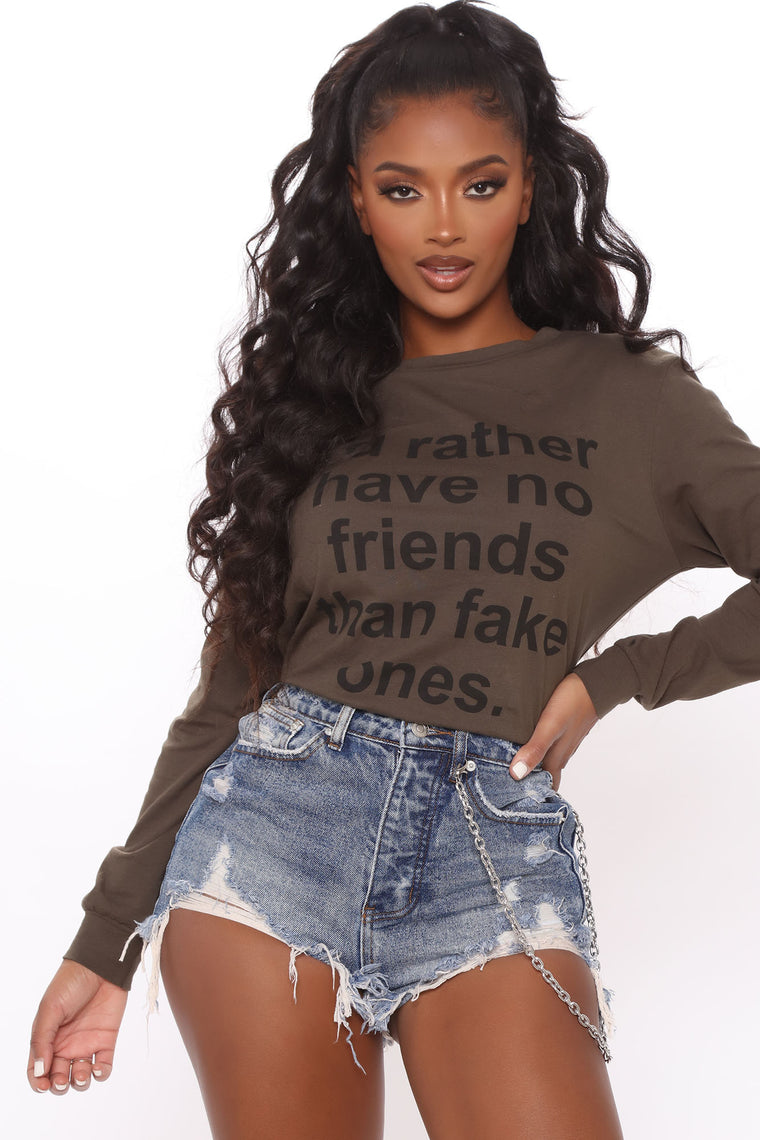 No Fake Friends Long Sleeve Top - Olive