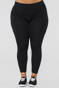 Yes Fleece Leggings - Black