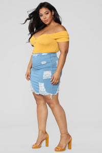 Major Moves Denim Skirt - Light Blue Wash Angle 9