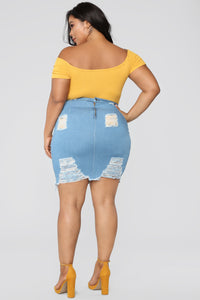 Major Moves Denim Skirt - Light Blue Wash Angle 11