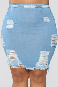 Major Moves Denim Skirt - Light Blue Wash Angle 8