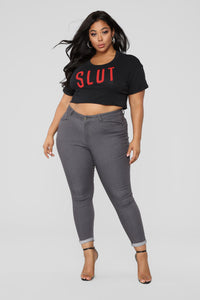 Slut Crop Top - Black/Red