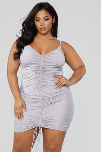 Shanghai Ruched Dress - Grey Angle 5