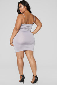 Shanghai Ruched Dress - Grey Angle 6