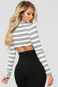 Owe You Nothing Crop Top - Ivory/Black