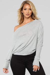 Off With His Head Top - Heather Grey Angle 1