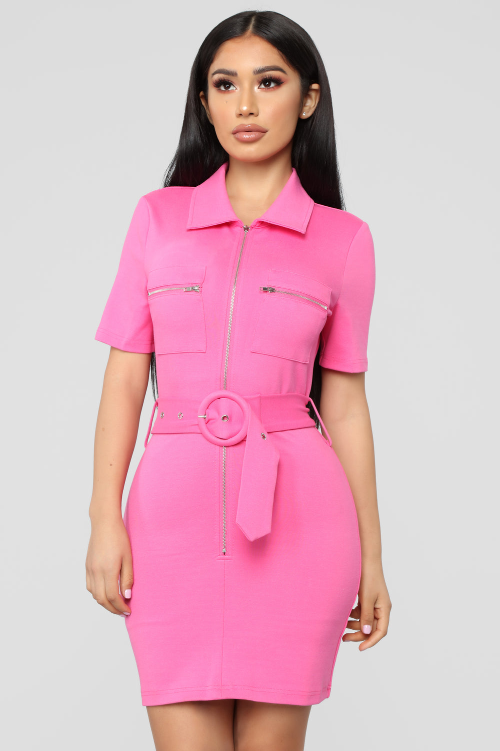 Obviously Into You Belted Dress - Candy Pink
