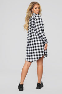 Lumber Jane Plaid Shirt Dress - Black/White