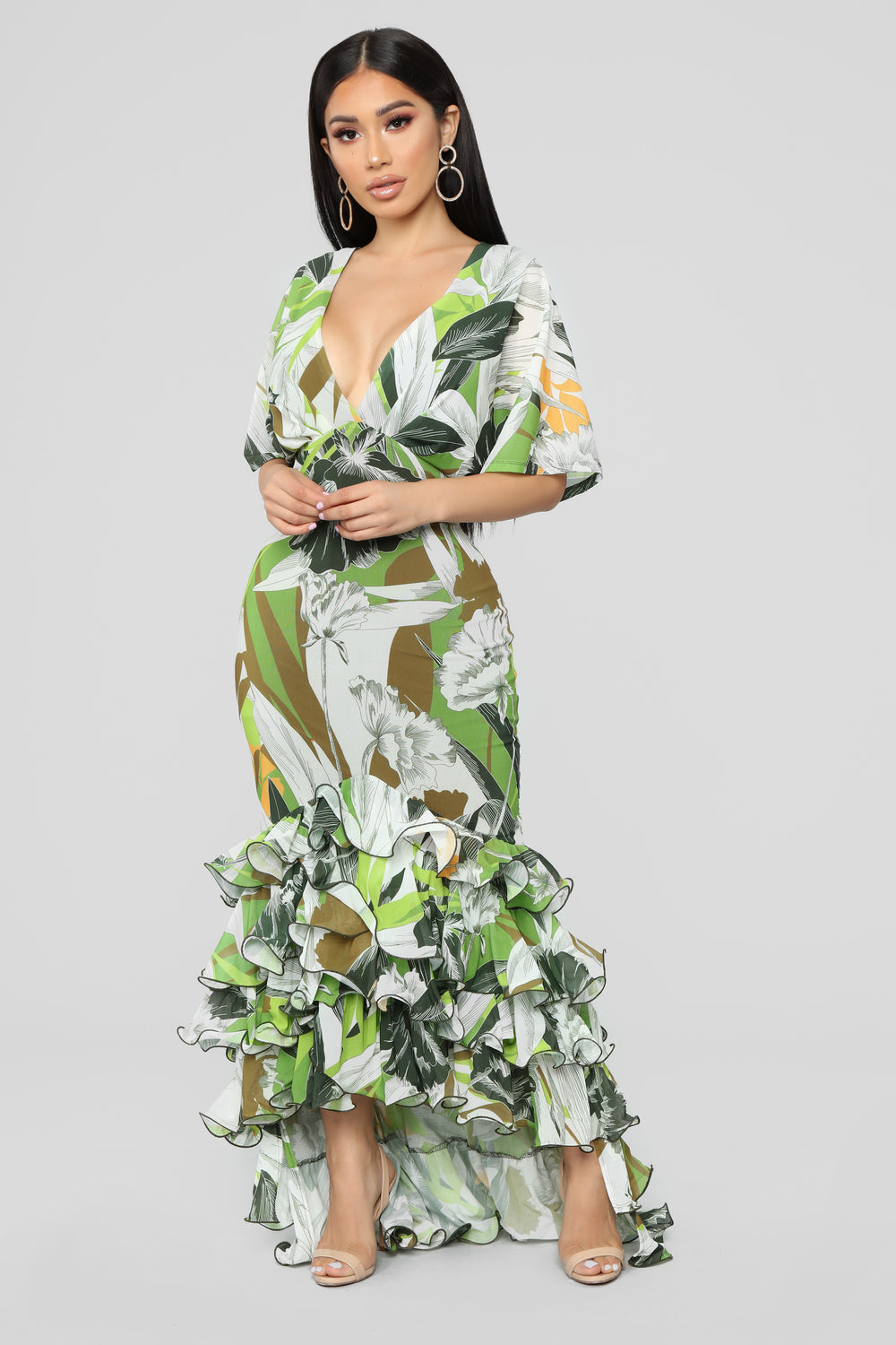 Queen Of The Tropics Ruffle Dress - Black/Green