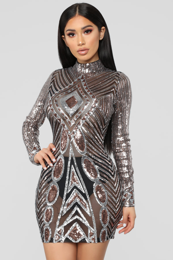 95a15c72c13 Everything Paid For Sequin Dress - Gold