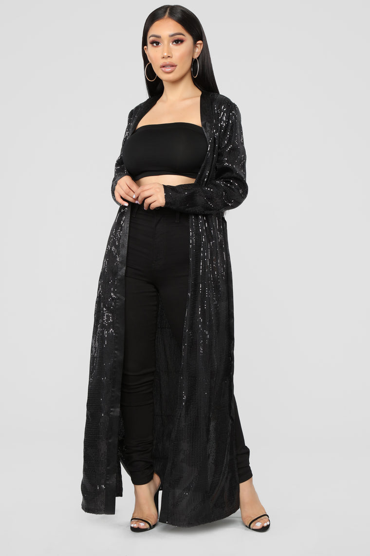 Hollywood Mood Belted Kimono - Black