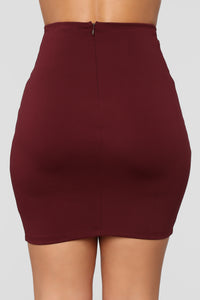 So Set Mini Ponte Skirt - Burgundy