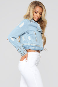 Going On A Ride Moto Jacket - Bleach Blue Wash
