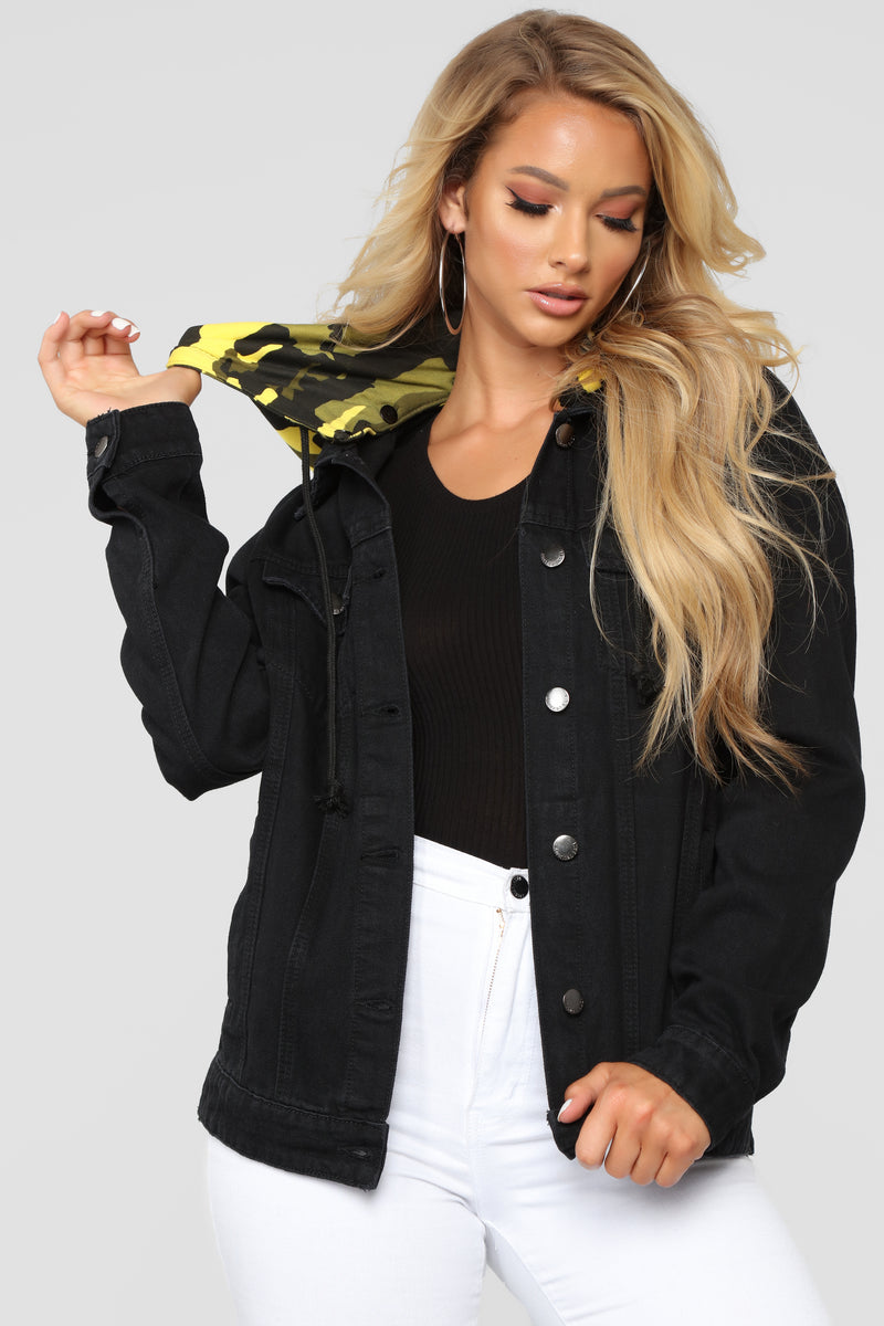 Camo Around Hooded Denim Jacket - Black/Yellow Camo